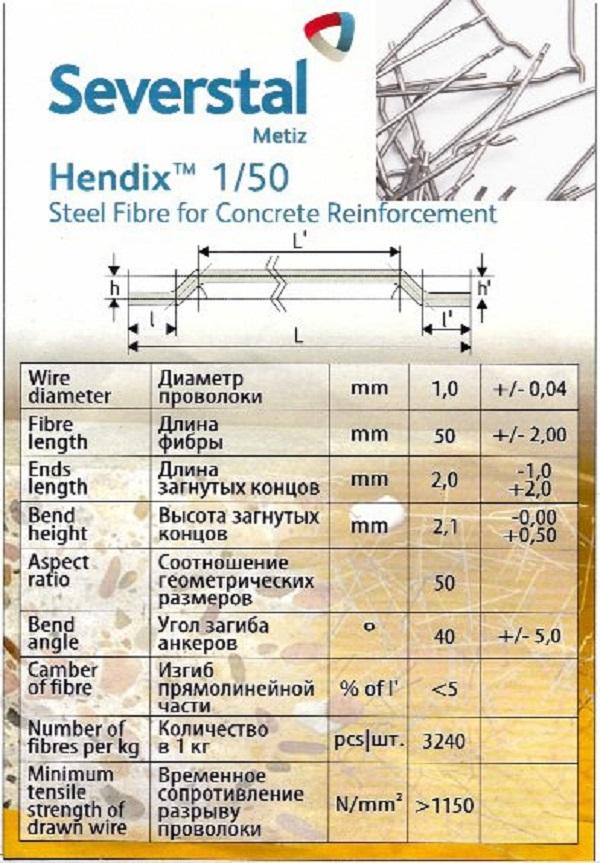 Hendix 1/50. Фибра стальная анкерная, проволочная