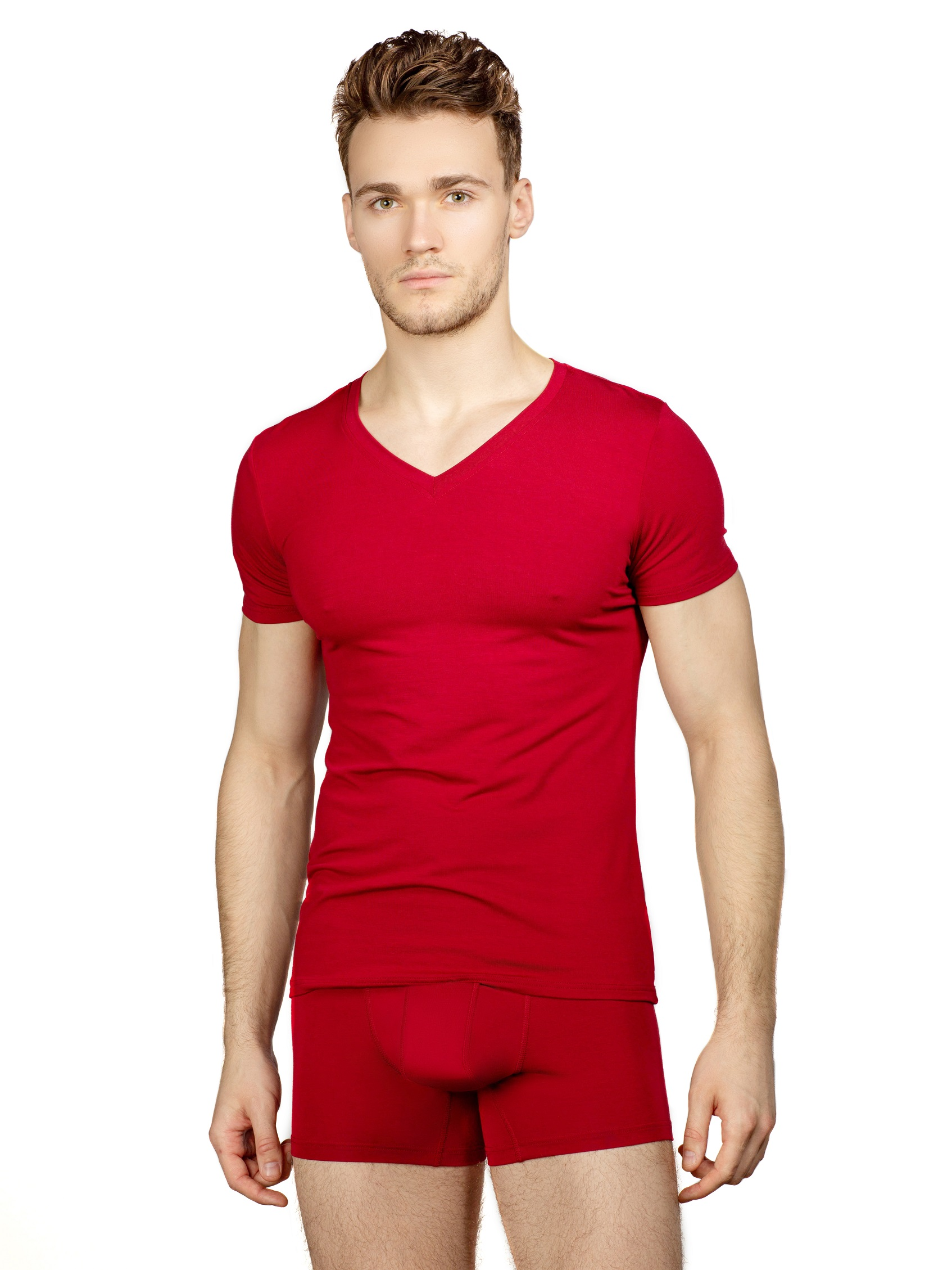 Бордовая футболка V образный вырез
